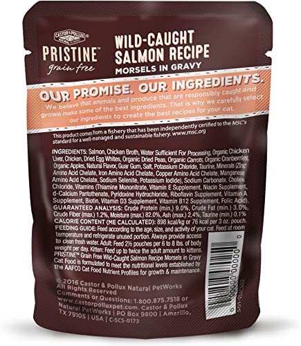 Castor Pollux Pristine Grain Free Wet Cat Food Morsels in Gravy 24 3 oz. Pouches