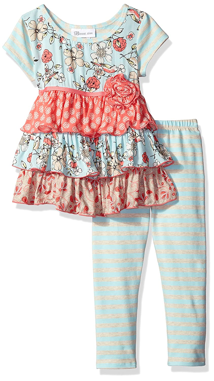 Bonnie Jean Little Girls Toddler Multi Pattern Print Challis Tiered Legging Set