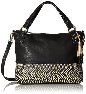 Jessica Simpson Kalie Straw (Natural/Black) Handbags H4x4W5LTcH