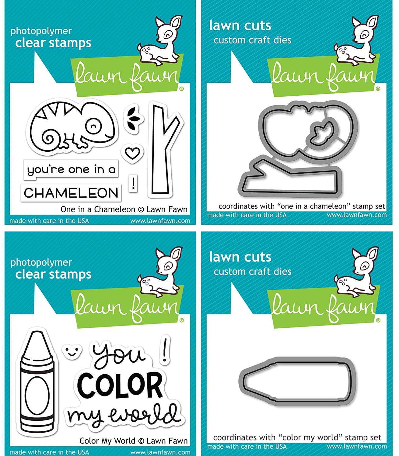 Amazon.com: Lawn Fawn Coloring Mini Sets - One In A Chameleon and ...