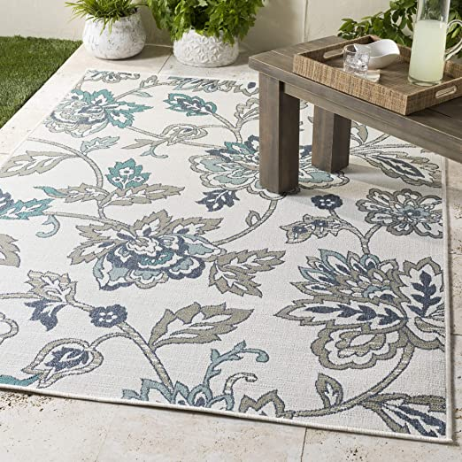 Amazon Com Artistic Weavers Liliana Aqua And Taupe Indoor Outdoor 5 3 Round Area Rug Blue Furniture Decor