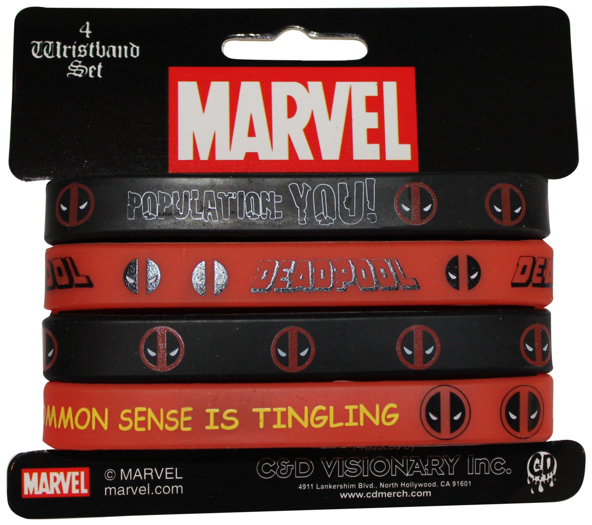 Application Marvel Extreme Deadpool Mini Rubber Wristband (4 Piece)