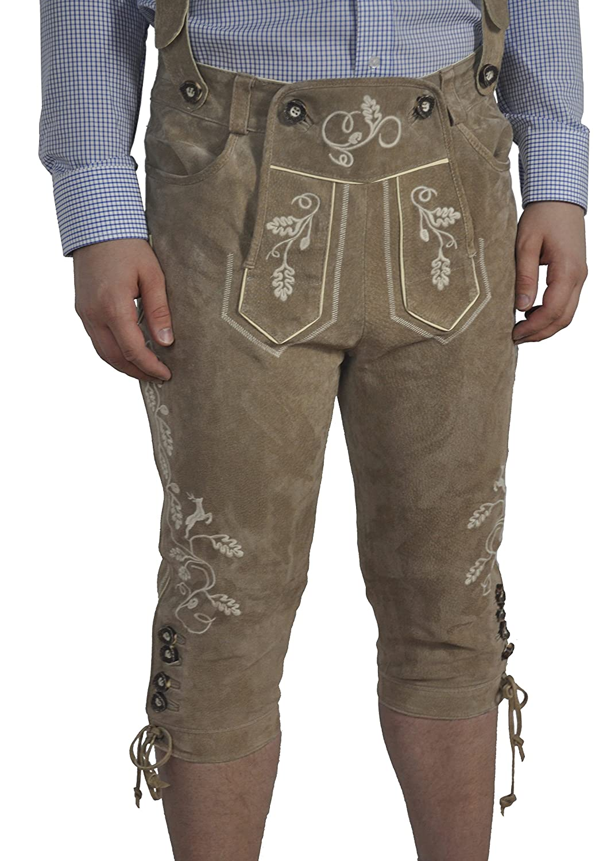 Herren Trachten Lederhose mit Hosenträger in der Farbe Cappuccino, PK-7 (Art. 22140)