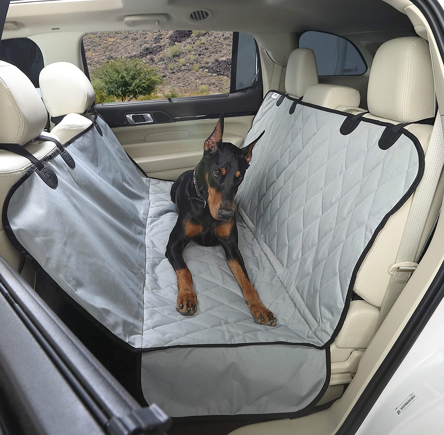 4Knines Dog Seat Cover with Hammock for Cars, Trucks and SUVs - Heavy Duty, Non Slip, Waterproof - USA Based