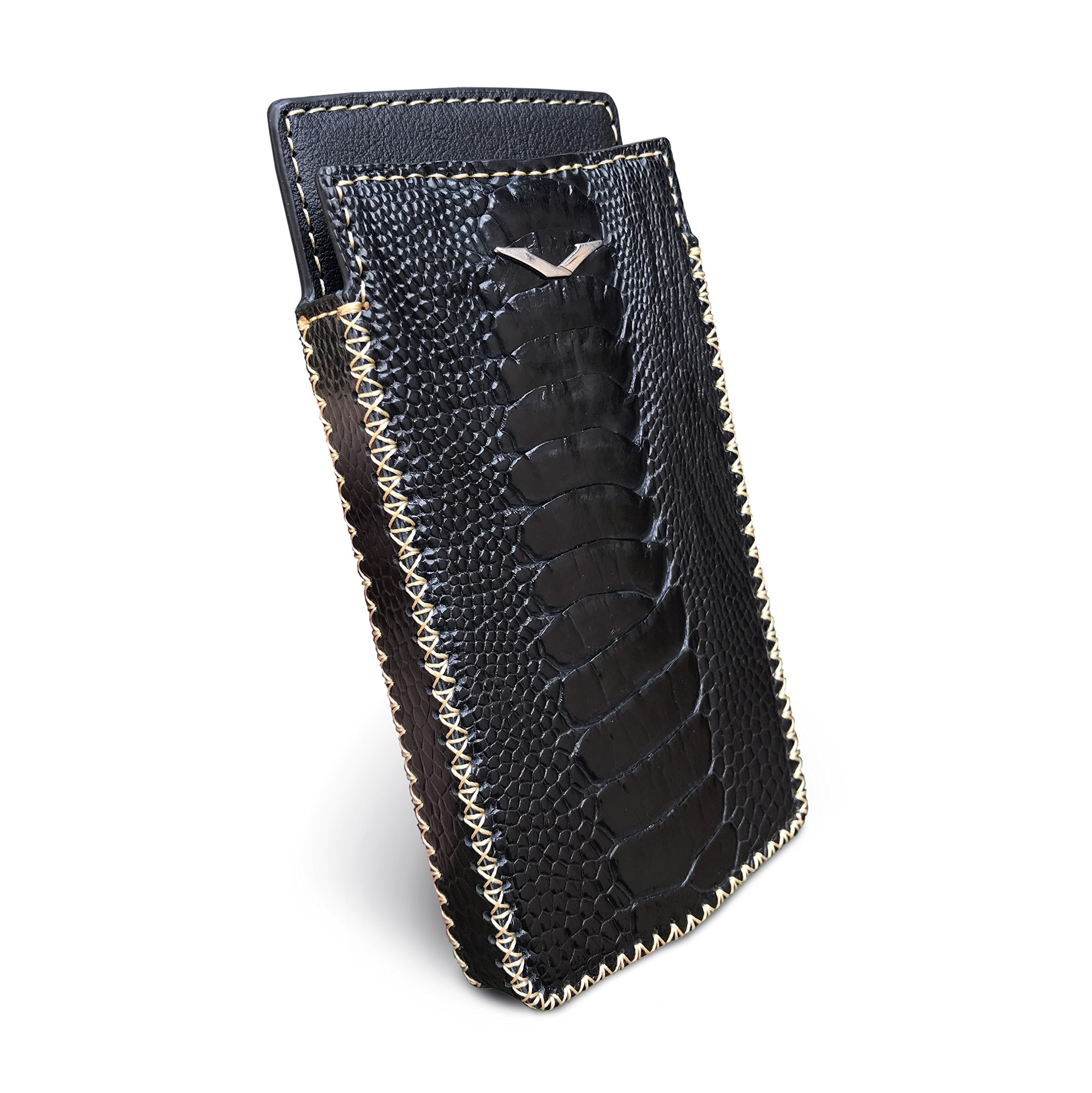 Vertu Signature Touch Handmade Ostrich Leather Case (Black) by Bixon Leather