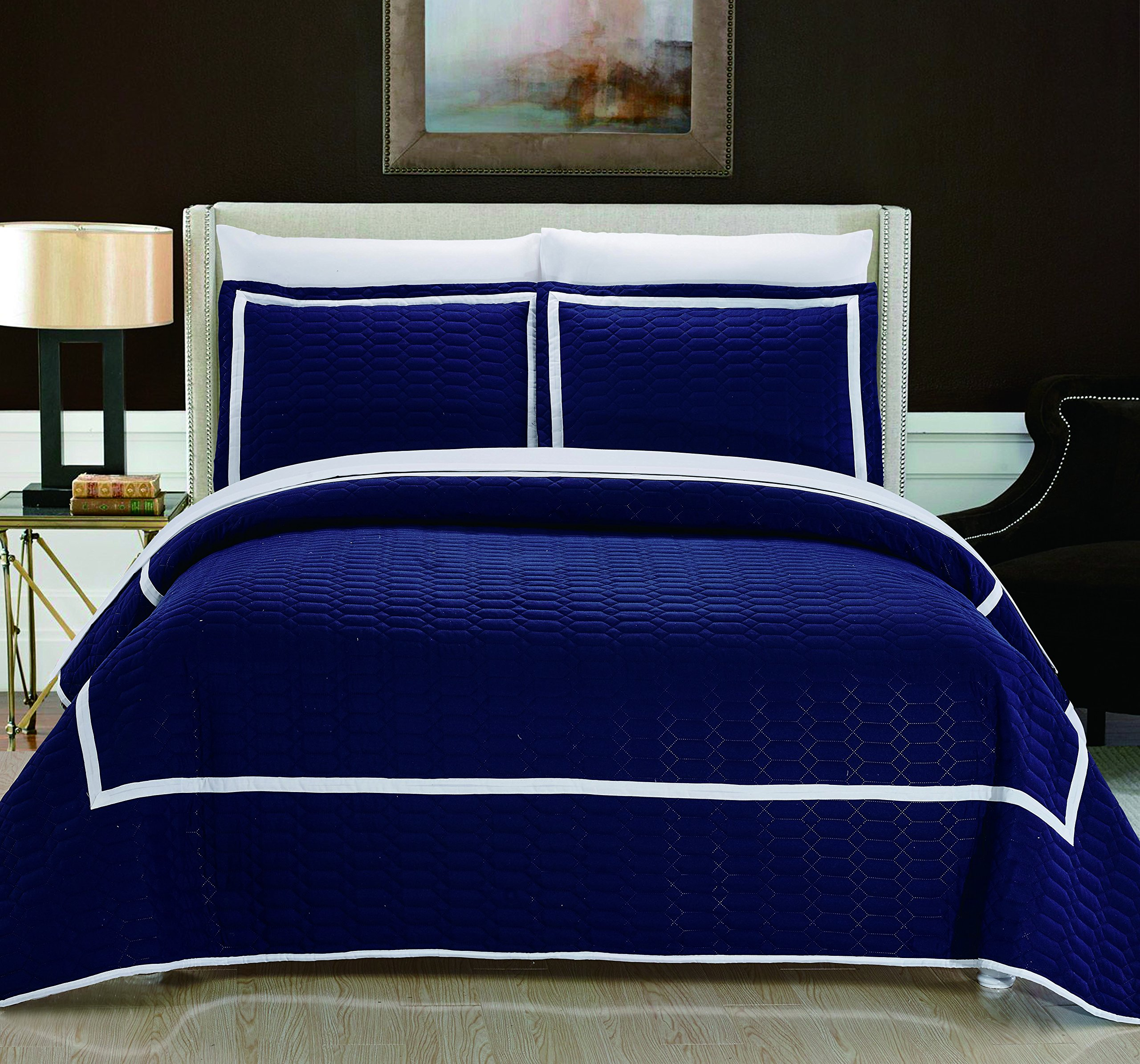 Chic Home 3 Piece Birmingham Hotel Collection 2 Tone Banded Quilted Geometrical Embroidered, Quilt Set, Queen, Navy