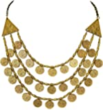 Sansar India Ancient Oxidized Golden Plated Three Layer Multi-Strand Coins Necklace for Girls and Women