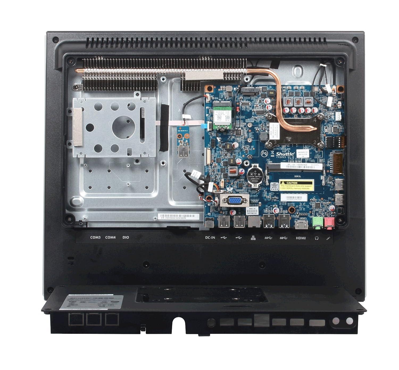 Fanless Shuttle XPC AIO X50V6 BLACK Intel Celeron 3865U Kabylake All-In-One Barebone PC IP54 Certified VESA compatible