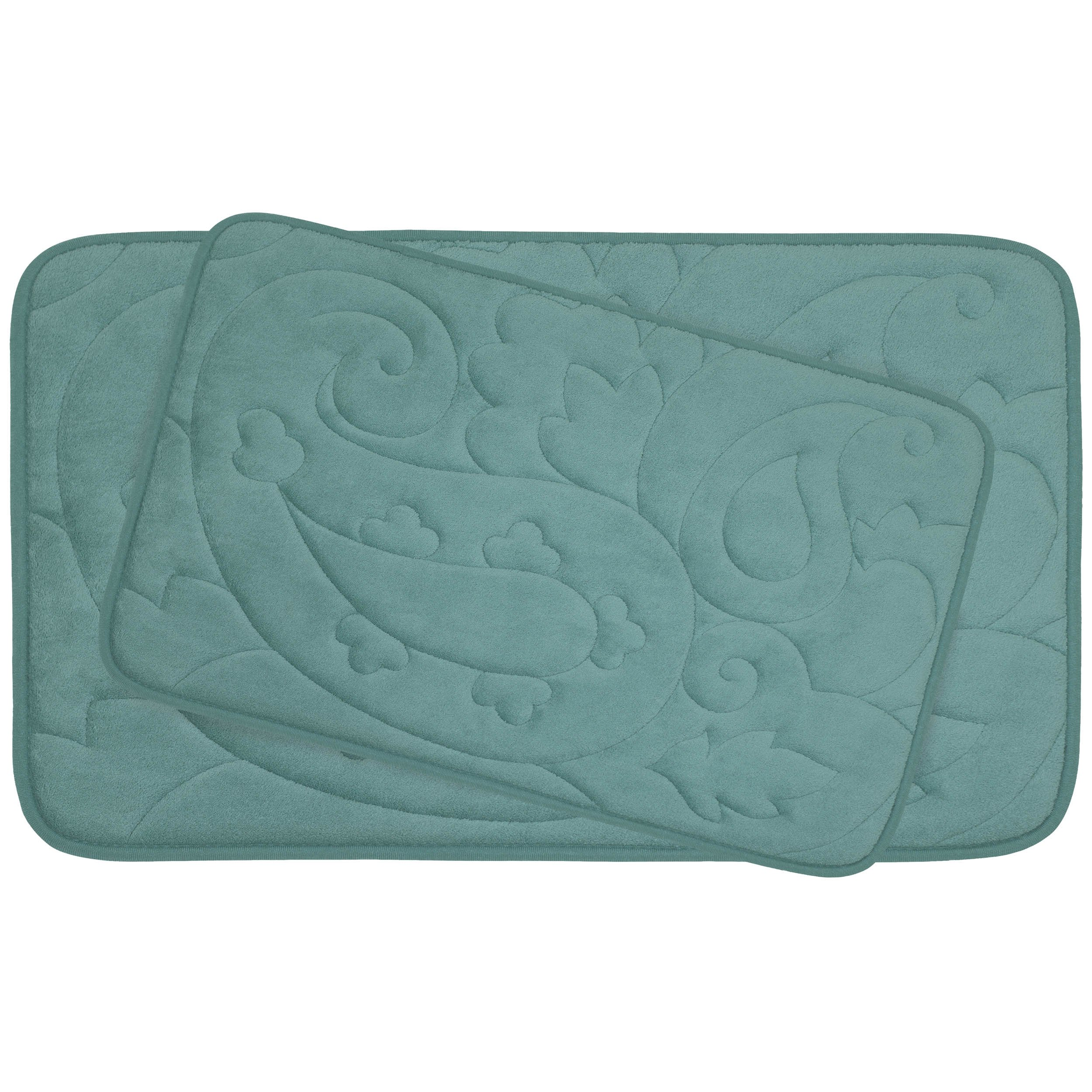 Bounce Comfort 2 Piece Pelton Micro Plush Memory Foam Bath Mat Set, 20 by 32'', Marine Blue