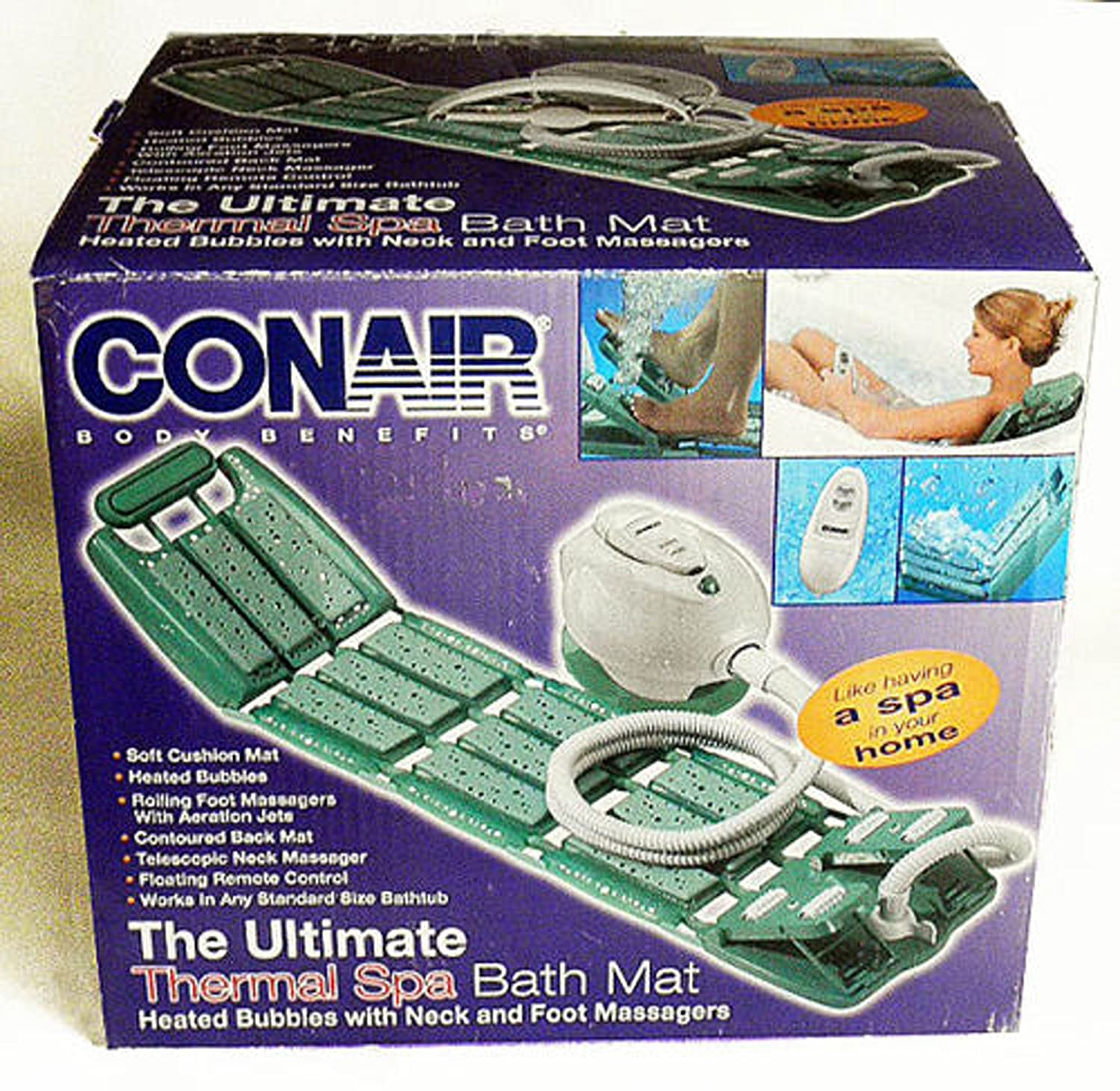 Conair Deluxe Thermal Spa Bath Mat With Remote and Foot Massage DISCONTINUED