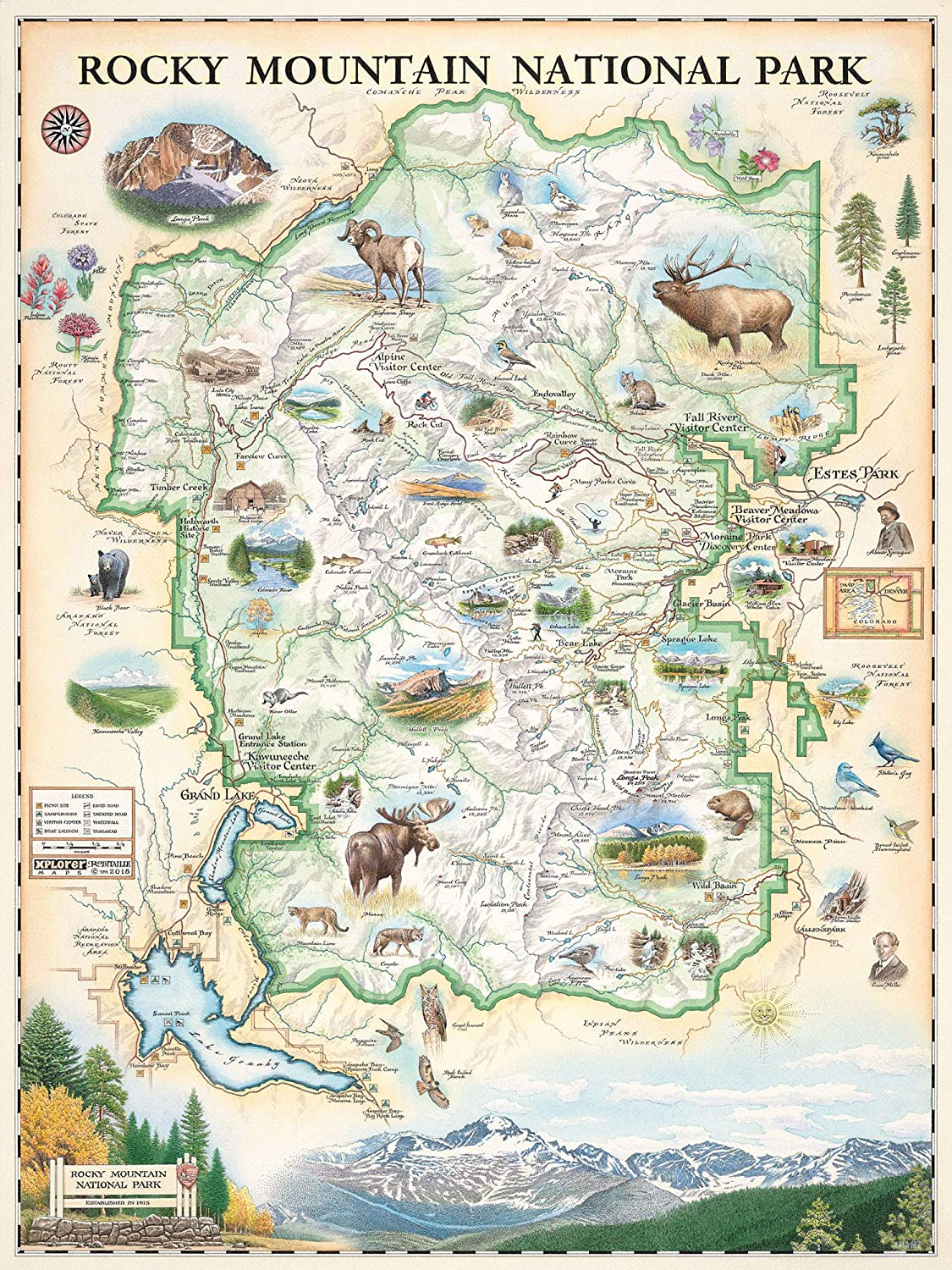 Amazon Com Rocky Mountain National Park Map Wall Art Poster Authentic Hand Drawn Maps In Old World Antique Style Art Deco Lithographic Print Posters Prints