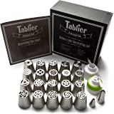 Deluxe cake decorating set - Professional quality stainless steel Russian piping nozzles, icing bags and other supplies (47 pieces) + instructions and tips for best cupcake decorations!