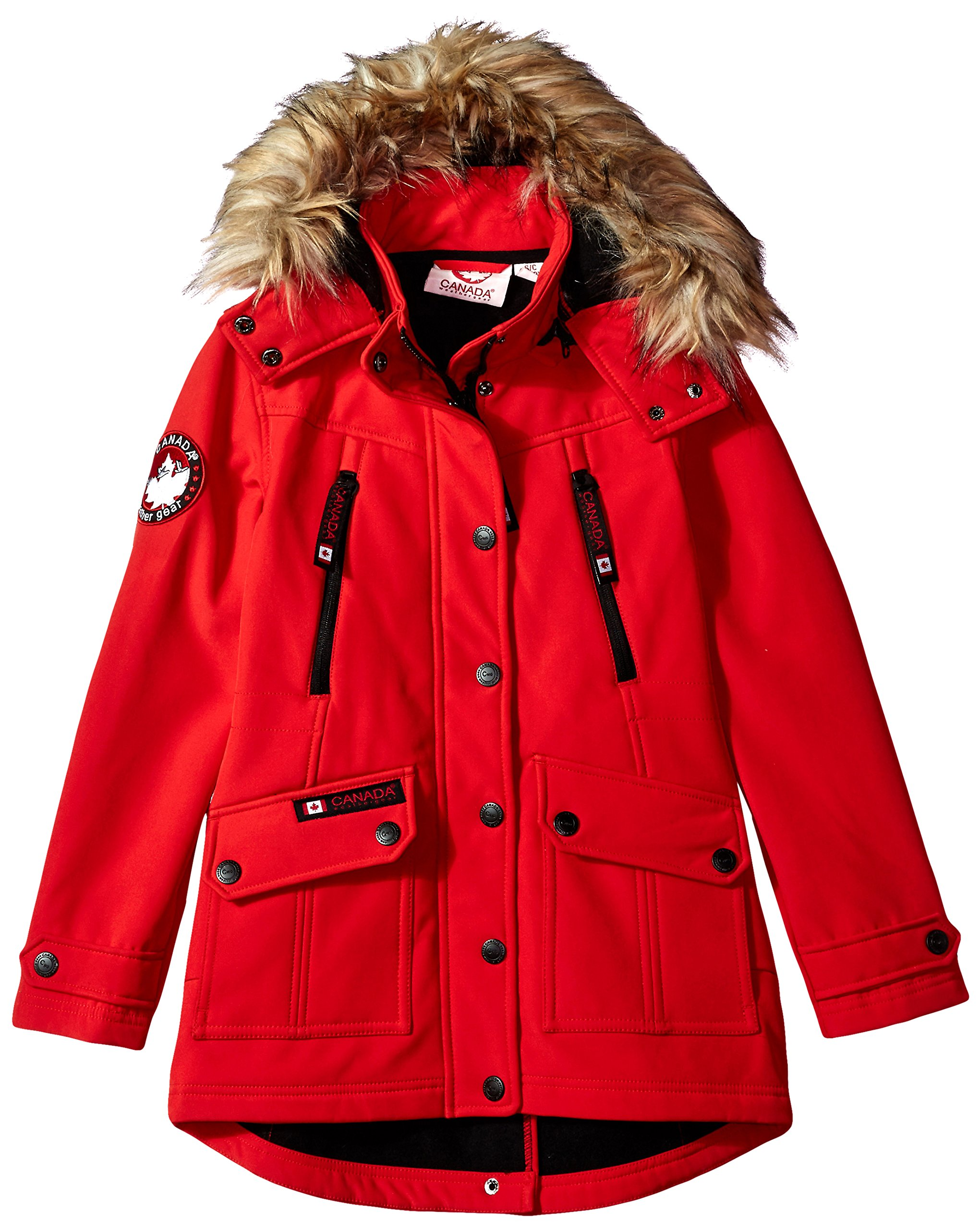 Canada Weather Gear Big Girls' Long Outerwear Jacket (More Styles Available), Softshell-CW051-Red, 7/8