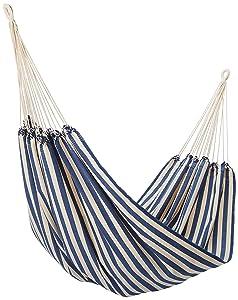 NOVICA Blue and White Striped Brazilian Outdoor Cotton Hammock, 'Maritime Brazil' (single) - HAM0010