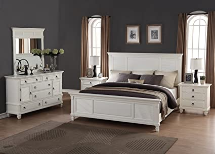 Roundhill Furniture Regitina 016 Bedroom Furniture Set, King Bed, Dresser,  Mirror, 2 Nightstands, White