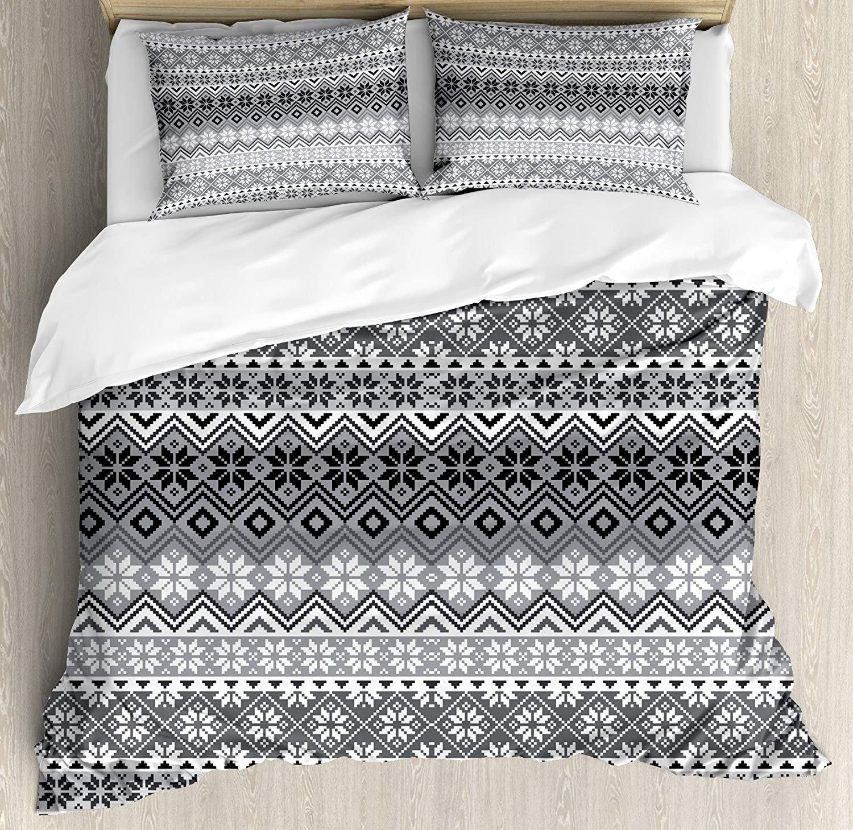 CVICV グレー CVICV3点セット 北欧の雪の結晶模様 北欧風 伝統的 モダンなプリント 室内装飾 寝具セット キルトベッドカバー 子供/ティーン/大人/子供用 グレー ホワイト ブラック クイーン B07QGQK1S6 Gray White Black クイーン