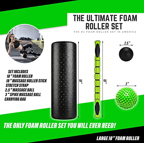 Fitness Kings The Ultimate Foam Roller Set - Large 18 Foam Exercise Set with Massage Stick, Spiky Massage Ball, Deep Tissue Ball Massager Yoga Strap - Home Gym Set for Pilates - W Workout Program