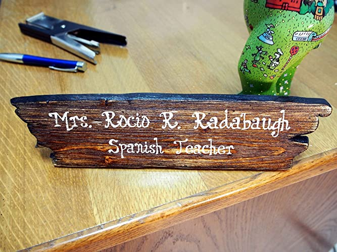 Desk Accessories Distressed Wood Desk Name Plate