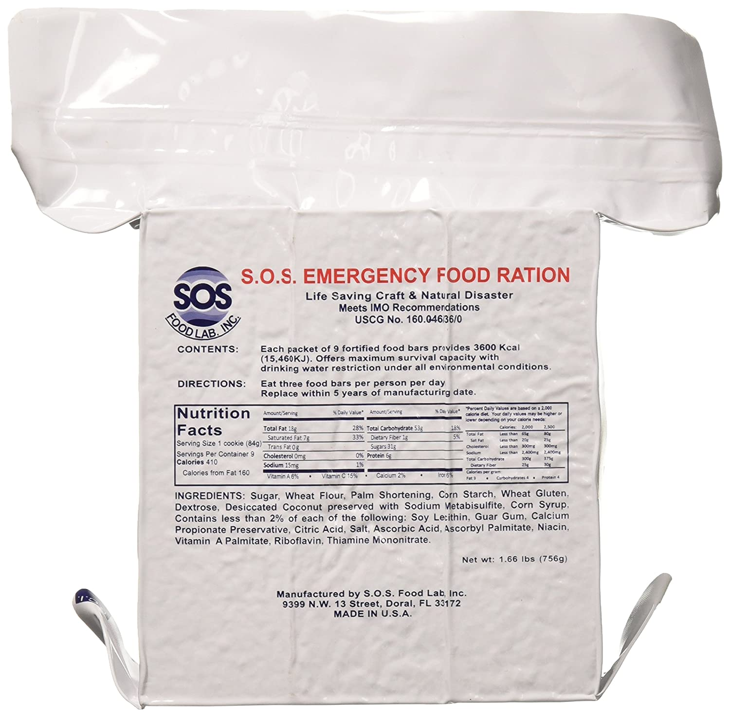 SOS Food Labs Inc S O S Rations Emergency 3600 Calorie