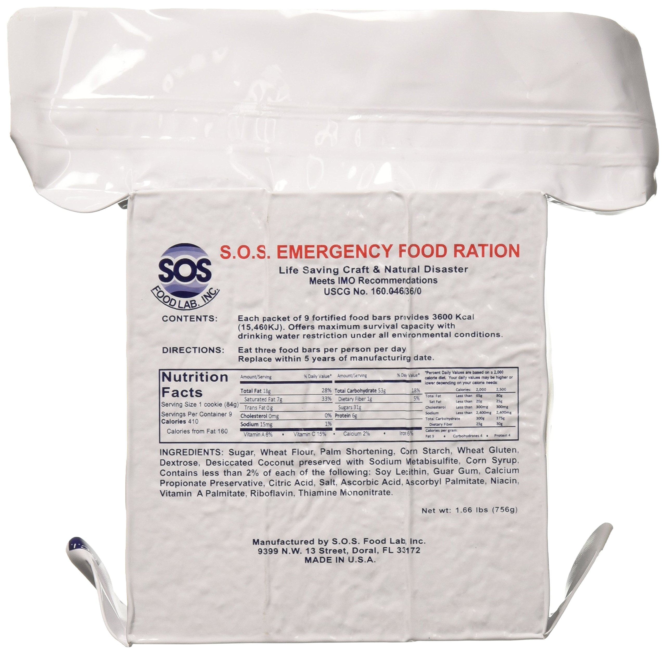 SOS Food Labs, Inc. 185000825 S.O.S. Rations Emergency 3600 Calorie Food bar - 3 Day/ 72 Hour Package with 5 Year Shelf Life, 5'' Height, 2'' Wide, 4.5'' Length