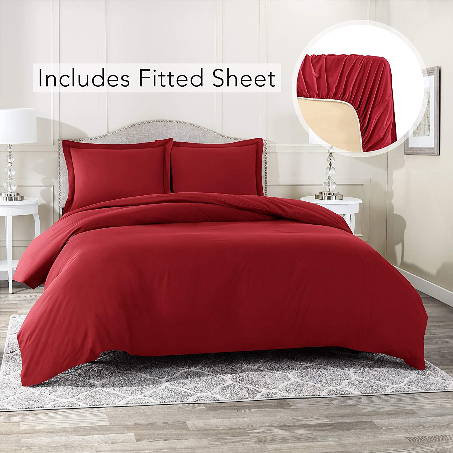 Nestl Bedding Duvet Cover with Fitted Sheet 4 Piece Set - Soft Double Brushed Microfiber Hotel Collection - Comforter Cover with Button Closure, Fitted Sheet, 2 Pillow Shams, Cal King - Burgundy