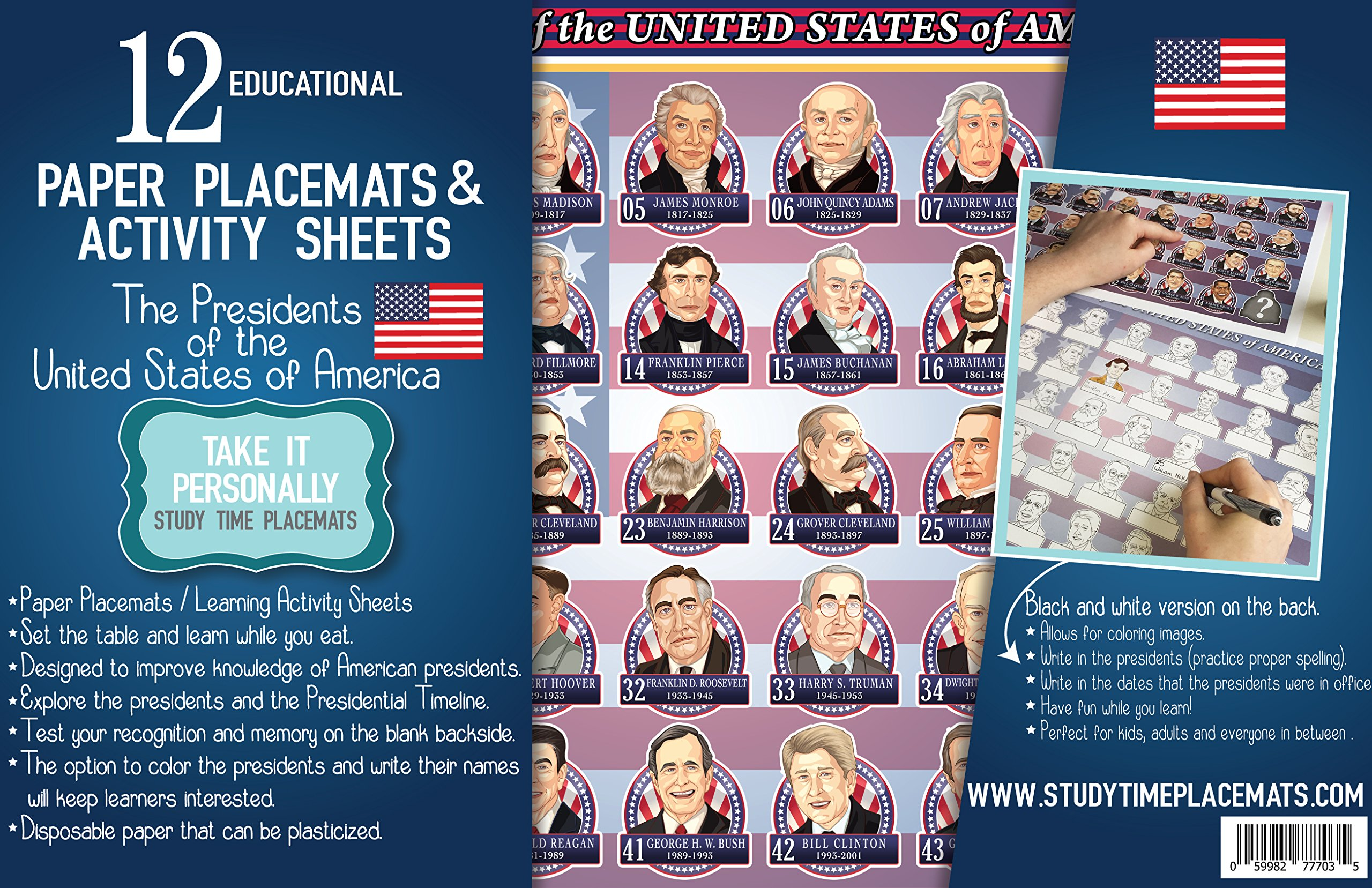 12 Educational Paper Placemats and The Presidents of The United States of America