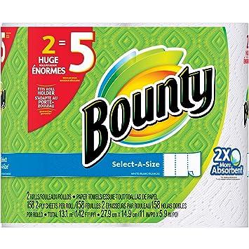 Bounty Select-A - Toallas de papel (158 hojas, 2 rollos): Amazon.es: Hogar
