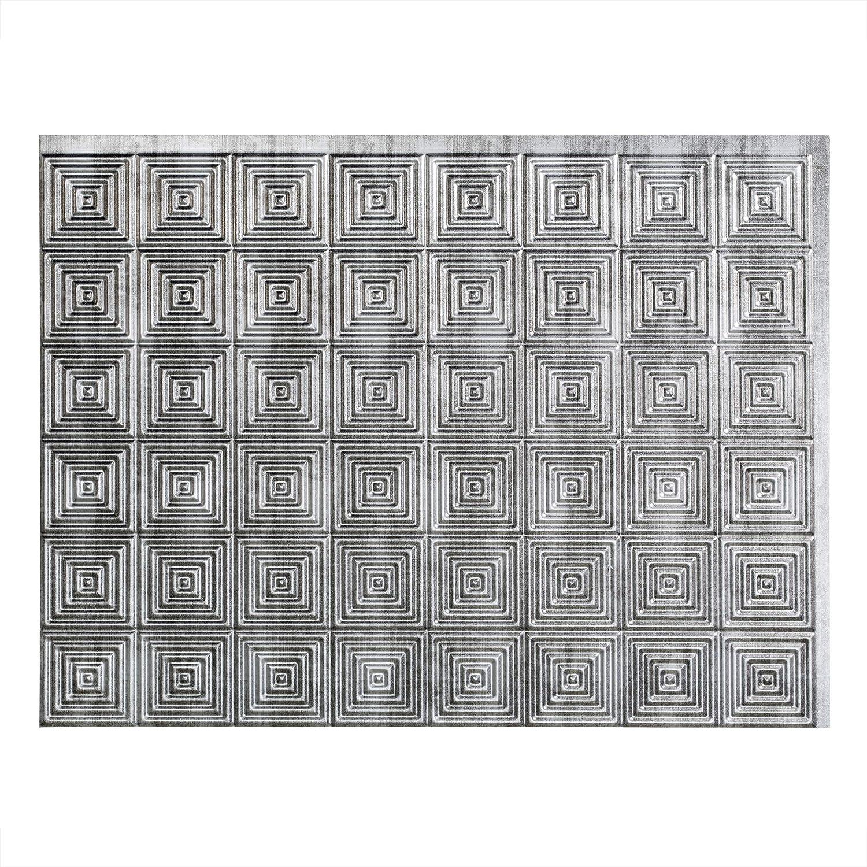 - Fasade Easy Installation Miniquattro Crosshatch Silver Backsplash
