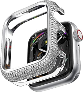 BaiHui 44mm Bling Case Compatible with Apple Watch 44mm Series 6/SE/5/4 Watch Case,Stainless Steel Protective Case Sparkling Crystal Diamonds Bezel Cover Bumper for Women/Girls - Silver