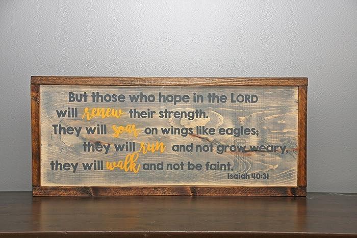 Amazon Com Isaiah 40 31 Handmade Wooden Wall Art Handmade
