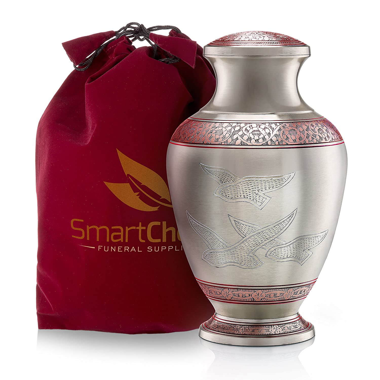 SmartChoice Wings of Freedom Brass Cremation Urn for Human Ashes – Handcrafted Funeral Memorial Urn with Dove Motif in Elegant Red (Adult)