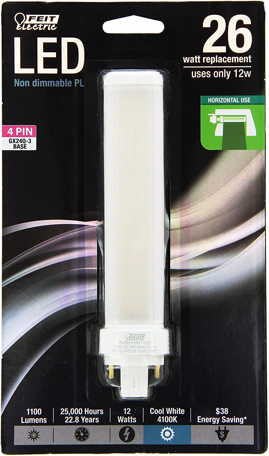 "FEIT Electric PL26E/H/841/LED PL Horizontal Recessed,1100 lm, 26W Equivalent, GX24Q Base LED Light Bulb, 6.25"" H x 1.4"" W x 1.4"" D, 4100K Cool White"