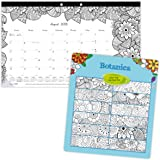 Blueline 2018-2019 DoodlePlan Academic Coloring Desk Pad Calendar, Botanica Designs, August 2018 to July 2019, 17.75 x 10.875 inches (CA2917001-19)