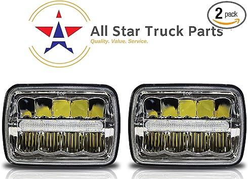 "7x6/""LED Headlight Projector Crystal Sealed Beam Pickup Truck Hi//Lo Beam Headlamp"