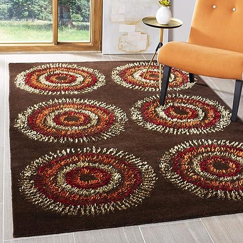 Safavieh Soho Collection Handmade Brown and Gold Premium Wool Area Rug 7'6″ x 9'6″