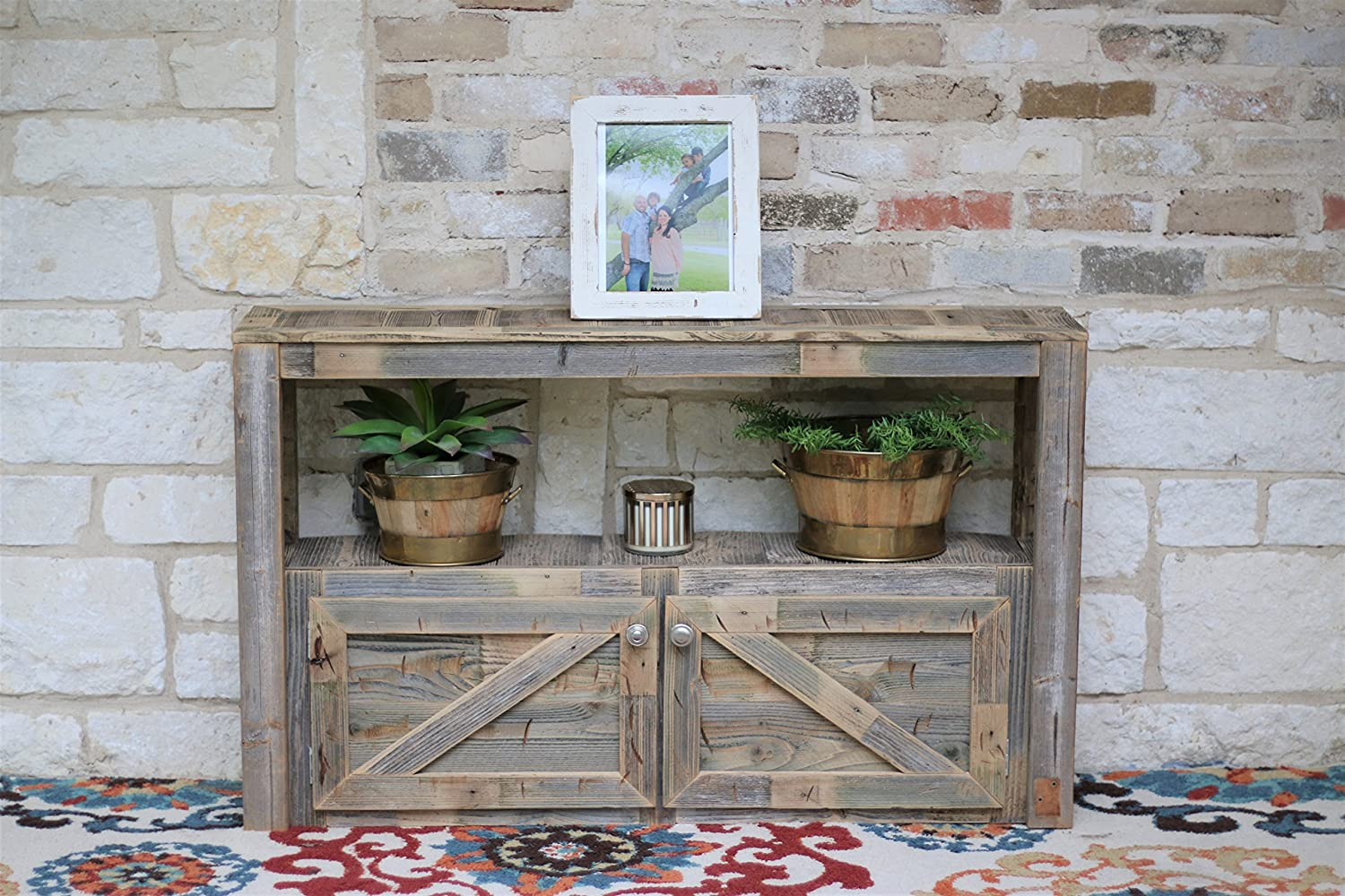 Natural Media Console With Doors