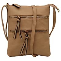 Amaze Crossbody Bag Double Zipper Functional Multi Pocket Shoulder Handbag Tote Casual Purse for Women
