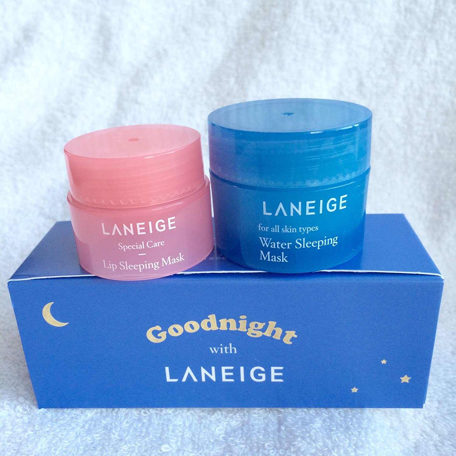 - Laneige Goodnight Sleeping Care Kit (Water Sleeping Mask 15Ml + Lip Sleeping Mask 3G)