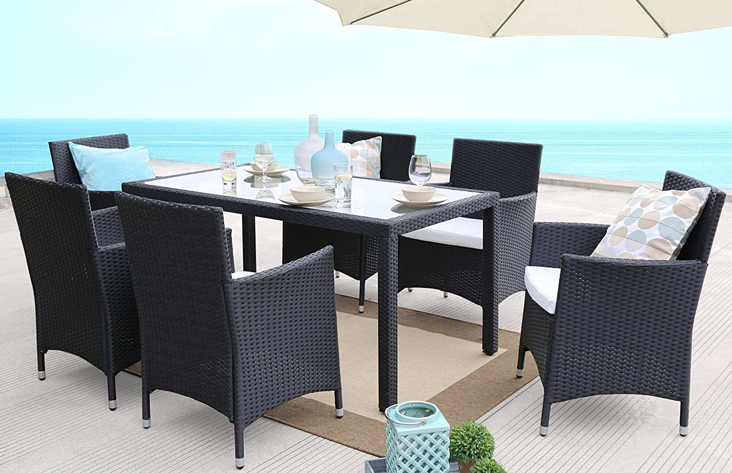 Amazon.com Baner Garden 7 Pieces Outdoor Furniture Complete Patio PE Wicker Rattan Garden Dining Set Full Black Kitchen \u0026 Dining & Amazon.com: Baner Garden 7 Pieces Outdoor Furniture Complete Patio ...