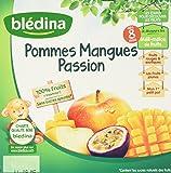 Blédina Coupelles de fruits Pommes Mangues Passion dès 8 mois 4 x 100 g - Lot de 6