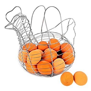 Southern Homewares Chicken Hen Shaped Egg Collection Storage Wire Basket - Farmhouse Style, Chrome