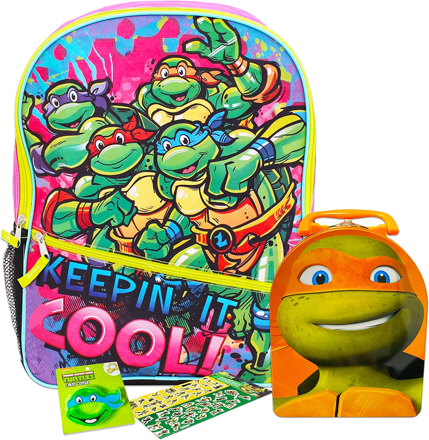 Teenage Mutant Ninja Turtles Backpack and Lunch Box for Girls Kids Bundle with Sandwich Cutter and TMNT Stickers (Ninja Turtles School Supplies)