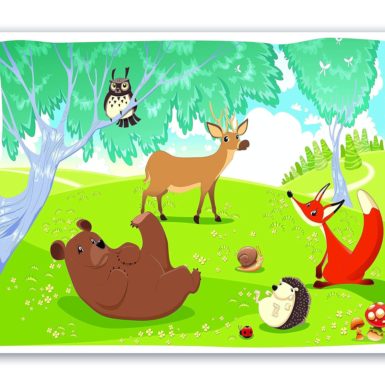 Murando - Fototapete 350x256 cm - Vlies Tapete - Moderne Wanddeko - Design Tapete - Wandtapete - Wand Dekoration - für Kindertapete Kinderzimmer Kinder Wald Tiere e-A-0031-a-a