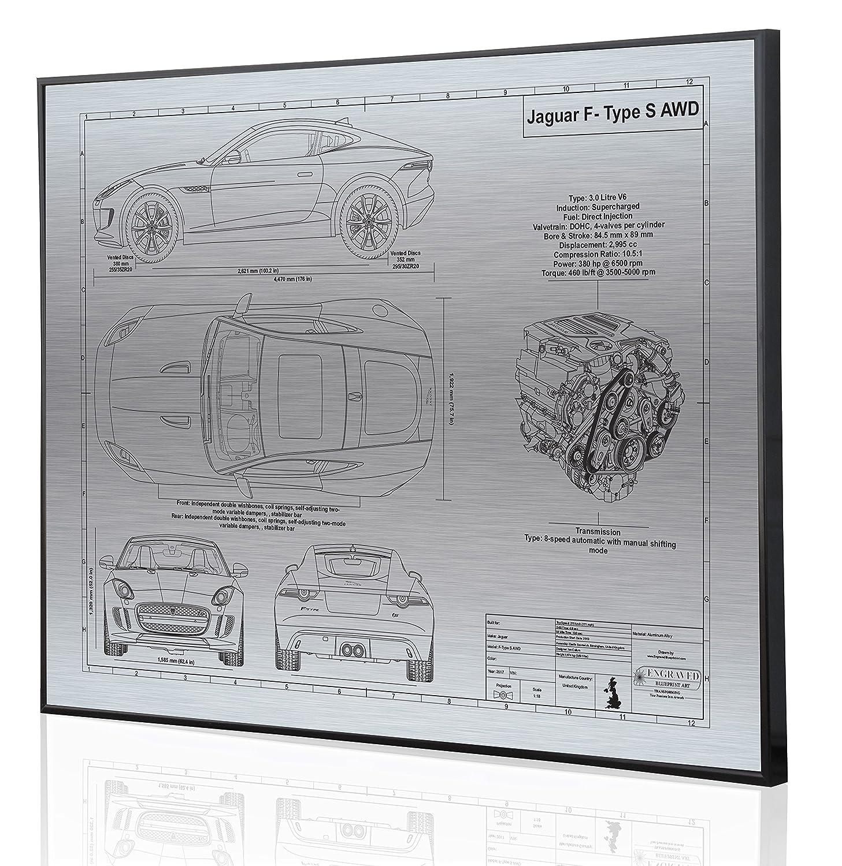 Amazon com: Jaguar F-Type S Blueprint Artwork-Laser Marked