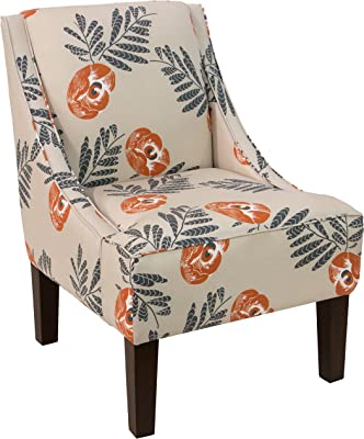 Skyline Furniture Upholstered Accent Chair in Mod Floral Orange  sc 1 st  Amazon.com & Amazon.com: Skyline Furniture Swoop Arm Chair in Velvet Pool ...
