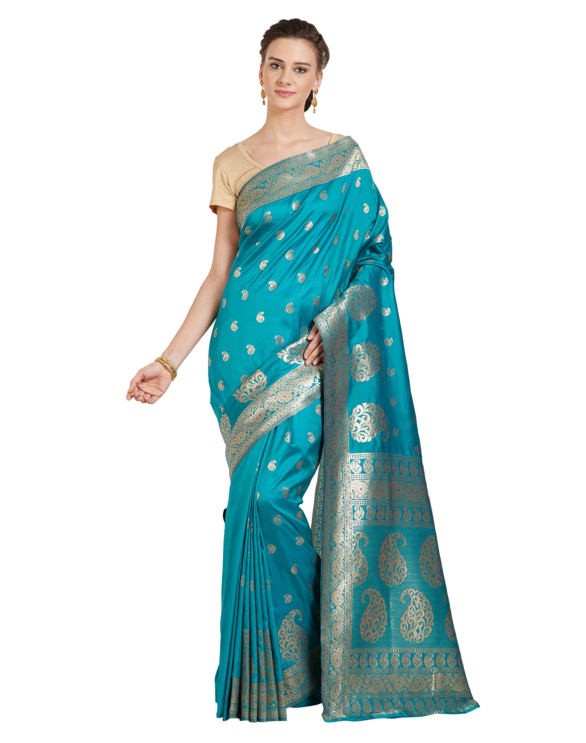 Viva N Diva Sarees for Women's Banarasi Sarees New Collection Teal Blue Colour Banarasi Art Silk Saree with Un-Stiched Blouse Piece,Free Size