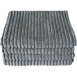Gryeer Bamboo and Microfiber Kitchen Towels - Super Absorbent Dish Towels - One Side Ribbed One Side Smooth Tea Towels, 26x18 Inch, Pack of 4, Gray