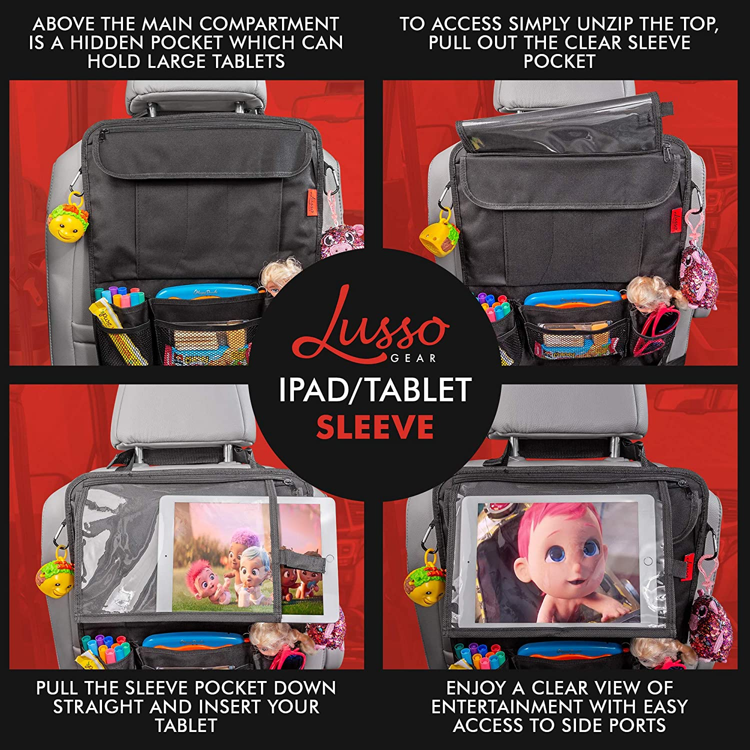 Great Travel Accessory for Kids Car Back Seat Organizer with Larger Protection /& Storage 12 Compartments including iPad Holder Reinforced Corners to Prevent Sag Eco Friendly Materials