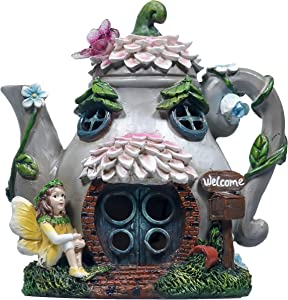 TERESA'S COLLECTIONS 6.7 Inch Teapot Fairy Garden House Statue with Solar Light, Fairy Garden Cottage Figurines Sculptures for Outdoor Patio Yard Decorations (Resin)