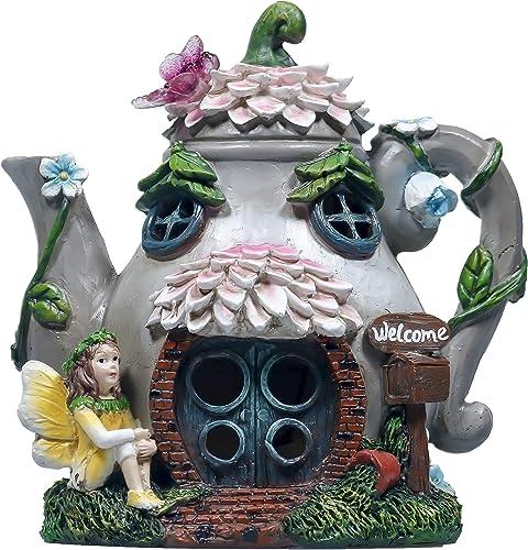 TERESA'S COLLECTIONS 6.7 Inch Teapot Fairy Garden House Statue